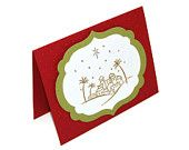 Stamped Christmas Card - Christian Christmas Card - Handmade Card - Gold Embossed - Religious Christmas - O Little Town of Bethlehem