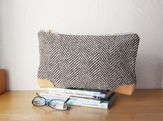 Herringbone Wool and Leather Clutch by infusion on Etsy