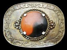 LL11142 VINTAGE 1970s **MULTI-COLOR ROUND STONE** COWBOY & WESTERN BELT BUCKLE