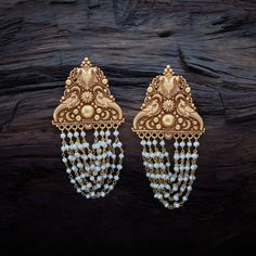 Traditional peacock design rasika earrings with hanging pearl threads made in pure silver. Gold Temple Jewellery, Mens Gold Jewelry, Silver Jewelry Box, Silver Rings Handmade, Fall Jewelry, Bridal Jewelry, Jewelry Gifts, Silver Earrings, Jewelry Stand
