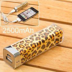 Llévalo por solo $18,300.Patrón del leopardo de la moda del respaldo de batería 2500mAh móvil banco de la energía externa.