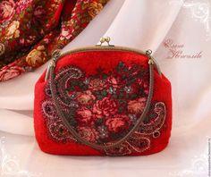 Купить Сумка Незнакомка валяная из шерсти с платком - ярко-красный, цветочный, сумка валяная