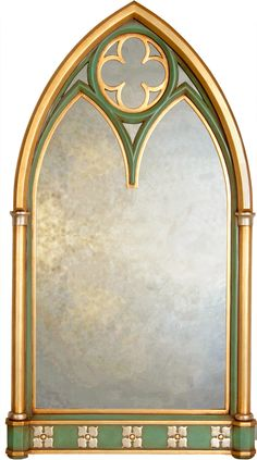 Tall vintage arched cathedral mirror vintage french for Gold window mirror