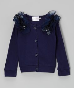 This Dark Blue Bow Button Jacket - Toddler & Girls by Blossom Couture is perfect! #zulilyfinds