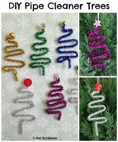 DIY Tiny Pipe Cleaner Tree Ornaments