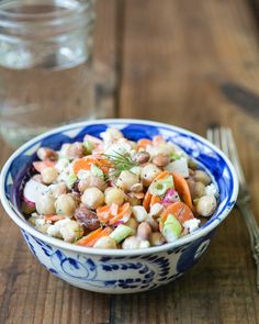 Chickpea and Vegetable Salad with Yogurt Dill Dressing