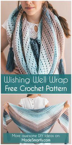 Wishing Well Wrap - Free Crochet Pattern #crochetpattern #wraps #crochet #crochetwrap #tutorial