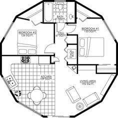 Billedresultat for wooden yurt floor plans Round House Plans, Small House Plans, House Floor Plans, Casa Octagonal, Yurt Home, Octagon House, Yurt Living, Living Area, Silo House