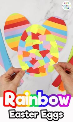 Rainbow Easter Egg Craft for Toddlers and Preschoolers. Cutting out and sticking carefully in a pattern are both great ways to hone fine motor skills, and the craft is a nice way to practice colour identification and recognition with younger children. Easter Arts And Crafts, Easter Crafts For Toddlers, Easter Activities, Easter Crafts For Kids, Toddler Crafts, Spring Crafts, Holiday Crafts, Bunny Crafts, Toddler Preschool