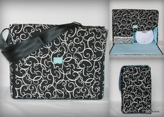Beautiful Bag and ready to ship now!    Black white loops with light blue lining Alana Breast Pump Bag for Spectra S1 or S2 pumps by EllaAlana on Etsy