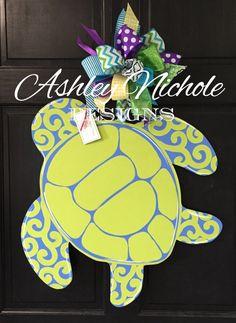 Sea Turtle Door Hanger Door Decoration by DesignsAshleyNichole