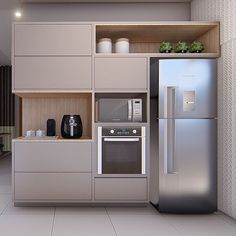 Simple one wall design Contemporary Kitchen Cabinets, Kitchen Cabinet Styles, Contemporary Kitchen Design, Kitchen Cupboards, Kitchen Room Design, Home Decor Kitchen, Interior Design Kitchen, Kitchen Furniture, Apartment Kitchen