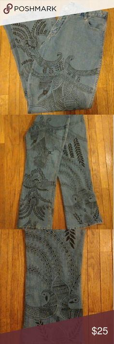 Trendy Boho Style Wide Bottom Jeans Excellent Condition Boho Style Wide Bottom Jeans.   Looks Great With A Kimono, Cardigan Or Tank.  Purchased At A New York Boutique For $90.  Material: 98% Cotton & 2% Spandex.  Color: Blue With Black Print.  Waste 34 Inches.  Inner Inseam: 30 Inches.  Outer Inseam: 40 1/4 Inches.  Front Rise: 12 Inches.  Back Rise: 15 1/2 Inches.  Length: 40 Inches.  Really Cool & Trendy!  Thank You Kindly & Please Feel Free To Ask Any Questions That You May Have. Have A…