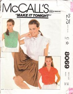 Vintage Sewing Pattern Women's Blouse with by ilovevintagestuff
