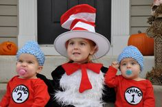 If I have twins next this is hands down one of our Halloween outfits for Olivia and her siblings. Thing 1 and Thing 2 Costume.
