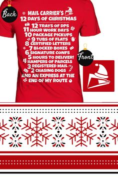 """Christmas Postal Worker Tee Shirt. """"Mail Carrier's 12 Days of Christmas"""". Makes a perfect gift!"""
