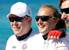 Prince Albert II of Monaco poses with World marathon record-holder Paula Radcliffe before the start of the Riviera Water Bike Challenge in support of the Princess Charlene of Monaco Foundation, in Nice, France June 4, 2017. REUTERS/Eric Gaillard