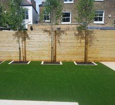 easi grass artificial lawn  slatted softwood horizonal screen fence trellis balham clapham battersea london