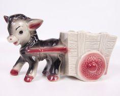 Vintage Donkey Planter Mule Pulling Cart by LeVintageGalleria, $24.00