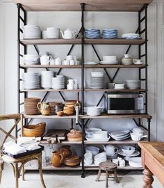 Shelves for holding dishes (kitchen, dining).