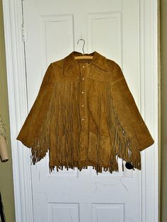 aaef5bca71c 1960s Vintage Mens or Unisex Western Suede Rancher Fringed Hippie Jacket 40  Chest
