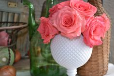 Vintage Westmoreland Milk Glass Ivy Ball Vase with by PatinaVille