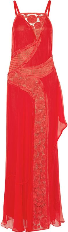 Vera Wang Embellished silk-chiffon gown on shopstyle.com