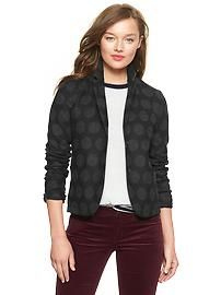 Polka dot wool academy blazer from the Gap with 3/4 sleeves is contemporary yet still classic look.  #womens #jackets #gap