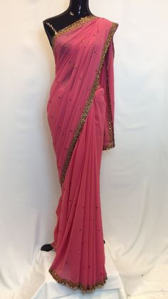 Pure Georgette Saree with Golden Handwork - carrot Pink