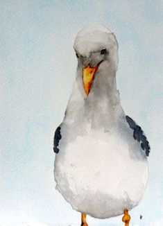 Original watercolor bird painting seagull art by bMoorearts, $75.00