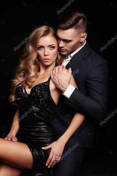 Picture of fashion studio photo of sexy beautiful couple. gorgeous woman with blond hair and handsome man in elegant clothes stock photo, images and stock photography. Couple Photoshoot Poses, Couple Photography Poses, Couple Posing, Studio Posen, Elegant Couple, Beautiful Couple, Couple Poses Reference, Sexy Posen, Luxury Couple
