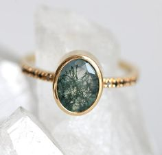 Green Agate Ring, Oval Moss Agate Ring, Garden Agate Ring with Black Diamonds Yellow gold Gold Diamond Rings, Gold Rings, Gemstone Rings, Silver Ring, Ring Set, Ring Verlobung, Rose Gold Engagement Ring, Vintage Engagement Rings, Agate Ring