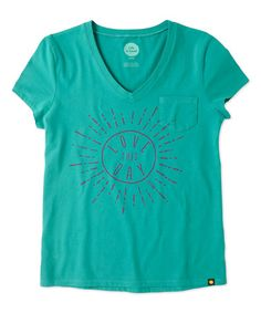 Love this Teal Blue 'Love This Day' Sun Pocket V-Neck Sleep Tee on #zulily! #zulilyfinds