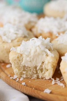 Thank you to our friends at Wholesome! for sponsoring this recipe. Coconut Sugar Cookie Cups have a yummy coconut sugar cookie base filled with frosting and topped with coconut. These are the perfect sweet treat for any time of year but are especially cu Cookie Desserts, Cupcake Cookies, Cookie Recipes, Dessert Recipes, Cup Desserts, Kiss Cookies, Coconut Desserts, Easter Desserts, Easter Treats