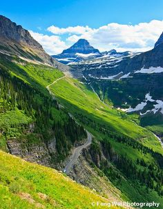 This is a gorgeous hike called the Highline Trail in Glacier National Park, MT