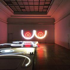 Adele Röder at Haus der Kunst #lightinstallation #neon #boobs #red #exhibition #hausderkunst #adeleroeder #breast Adele, Neon Signs, Instagram Posts