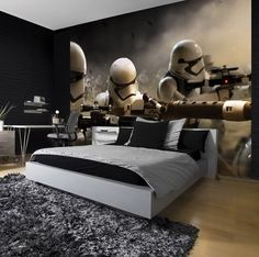Star Wars The Force Awakens paper wallpaper - Star Wars Men - Ideas of Star Wars Men - Giant size wallpaper mural for boy's room. Express and worldwide shipping. Star Wars Room Decor, Star Wars Bedroom, Men's Bedroom Design, Bedroom Decor, Bedroom Ideas, Chambre Nolan, Decoracion Star Wars, Star Wars Zimmer, Nerd Room