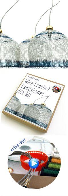 DIY kit  , wire crochet craft  kit , Lampshade , diy pendant light ,  Video pattern , PDF pattern , ISK starter ,  craft wire crochet hook