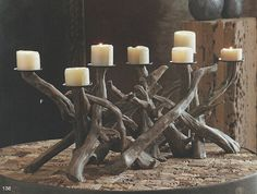 Seaside Inspired - Specializing in Modern Beach Decor: New Fall 2011 Driftwood Collection Driftwood Furniture, Driftwood Crafts, Driftwood Beach, Ocean Home Decor, Beach Ornaments, Bois Diy, Wood Candle Holders, Ideias Diy, Organic Shapes