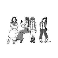 사진 설명이 없습니다. People Illustration, Line Illustration, Character Illustration, Drawings Of Friends, Girl Sketch, Cartoon Art, Cute Drawings, Cute Wallpapers, Cute Art