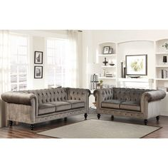 Abbyson Living Grand Chesterfield Grey Velvet 3 Piece Sofa, Loveseat, and Armchair 3 Piece Living Room Set, Leather Living Room Set, Leather Sofa Set, Living Room Sets, Living Room Furniture, Living Room Decor, Living Spaces, Small Living, Modern Living