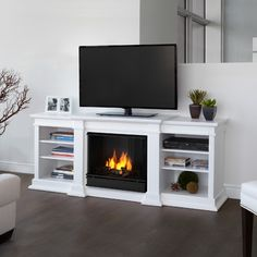 White TV stand with built-in fireplace