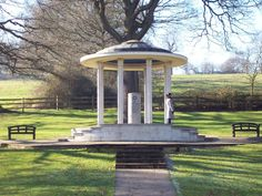 """Magna Carta Memorial at Runnymede built in 1957. The water-meadow at Runnymede is the most likely location at which, in 1215, King John sealed Magna Carta. The charter indicates Runnymede by name as """"Ronimed. inter Windlesoram et Stanes"""" (between Windsor and Staines). Magna Carta had an impact on common and constitutional law as well as political representation also affecting the development of parliament."""