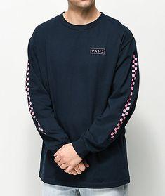 Vans Checkmate Navy & Pink Long Sleeve T-Shirt