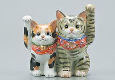 these guys are getting high-priced out of my collecting spending limit...too bad.... Japanese Lucky Cat Kutani Yaki Ware Porcelain Maneki Neko Kinsai MORI5 | eBay