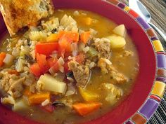Carbonada....(Is a soup with large pieces of vegetables and meat, ideal for eating on those cold days of autumn or winter).