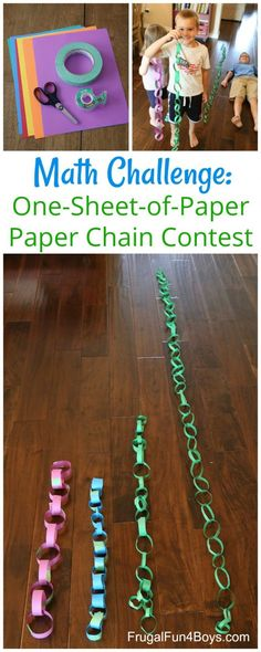 STEM Challenge: One-Piece-of-Paper Paper Chain Contest - Frugal Fun For Boys and Girls Awesome STEM challenge for kids! What is the longest paper chain you can make with one piece of paper? School Age Activities, Math Activities For Kids, Classroom Activities, Fun Math, Christmas Activities Ks2, Classroom Ideas, School Age Crafts, Kids Math, Math Class
