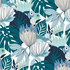 RETRO TROPICAL LEAVES PEEL & STICK WALLPAPER - blue, green / 1 roll - 20.5 inches wide X 16.5 feet