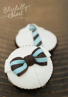 Bowtie cupcakes for the boys - love the shirt buttons! Baking Cupcakes, Cupcake Recipes, Cupcake Ideas, Cupcake Toppers, Cupcake Cakes, Mustache Men, Milk Cookies, Baby Party, Themed Cakes