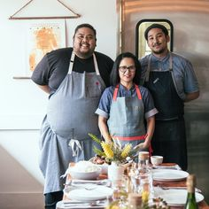 A new generation of Filipino American chefs is putting a fresh spin on the country's cuisine. Pictured: Alvin Cailan of Eggslut, Isa Fabro of Unit 120, and Chad Valencia of Lasa Restaurant, L.A.